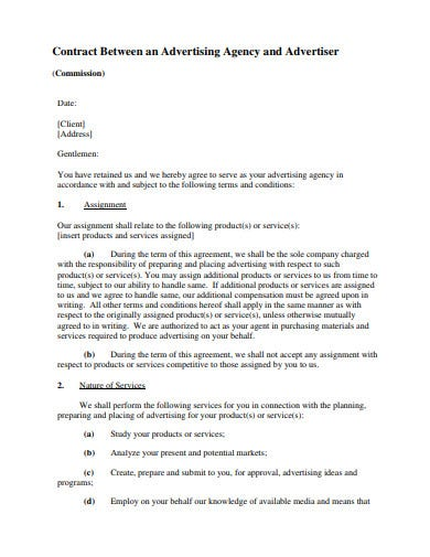 advertising agency and advertiser contract