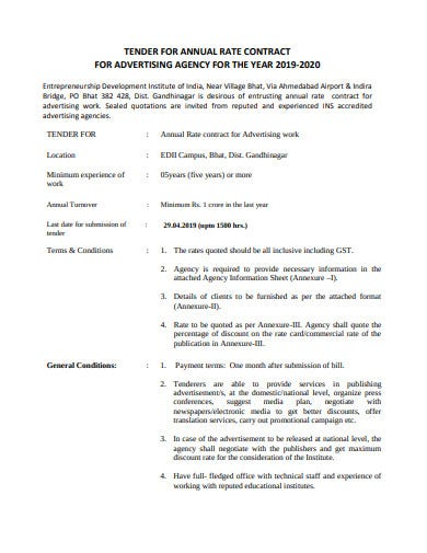 agency advertising annual rate contract