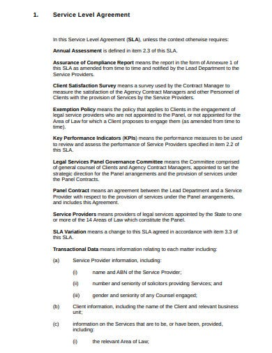 agency annual service level agreement template