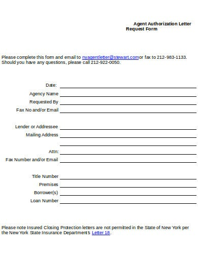 agency authorization letter request form