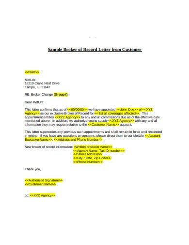agency broker of record letter from customer