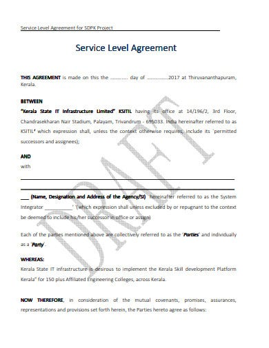 agency project service level agreement template