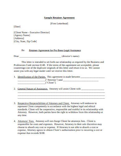 agency retainer agreement example