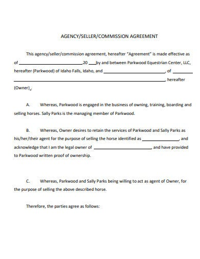 agency or seller commission agreement