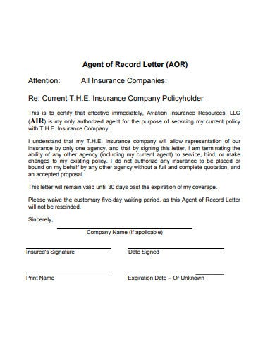 agent of record letter template