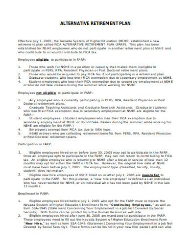 alternative retirement plan template