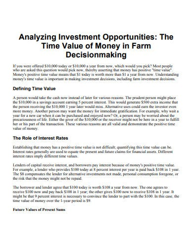 analysing investment opportunity template