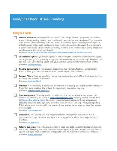 analytics checklist re branding
