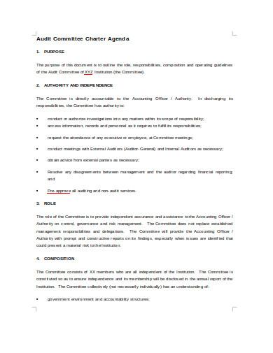 audit committee charter agenda