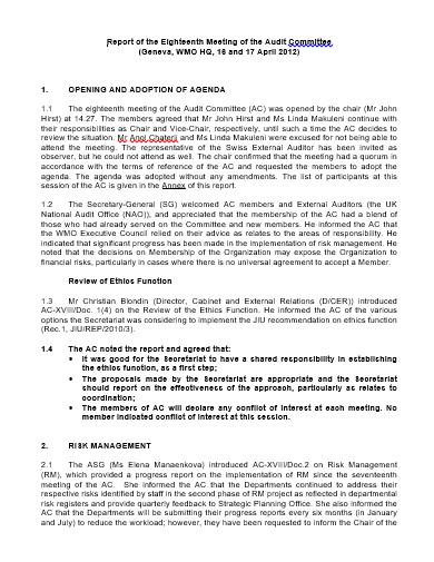 10 audit committee meeting agenda templates in pdf ms