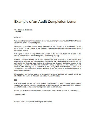 audit completion management letter template