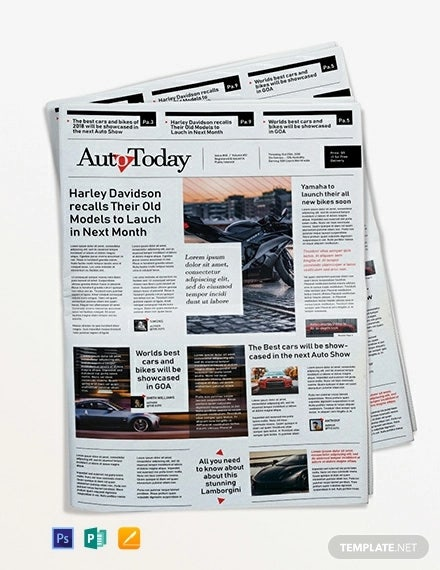 automobile newspaper template