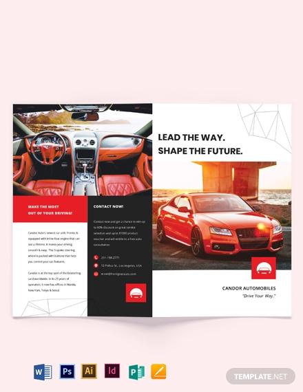 automotive marketing bi fold brochure template