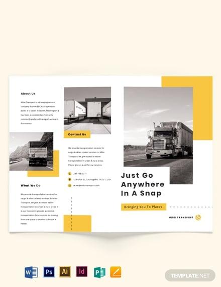 automotive and transportation bi fold brochure template