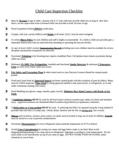 basic child care inspection checklist