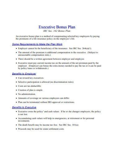 10+ Executive Bonus Plan Templates in PDF | Free & Premium ...