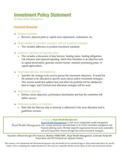 basic investment policy statement for nonprofits template