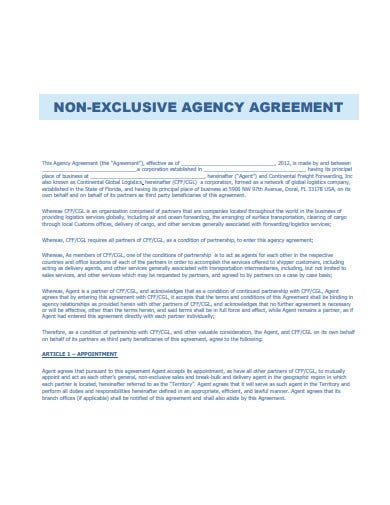 basic non exclusive agency agreement