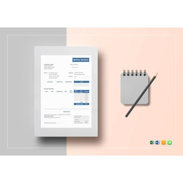 basic rental invoice template