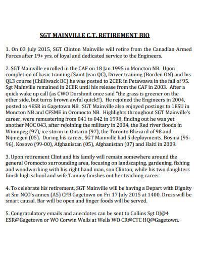 basic retirement bio