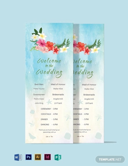 beach wedding program card template