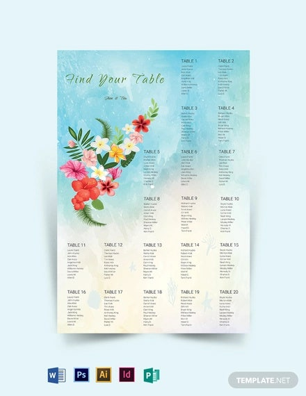 beach wedding seating chart template1
