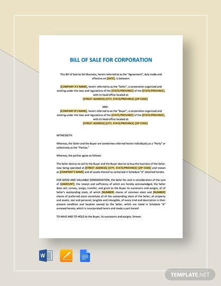bill of sale for corporations template