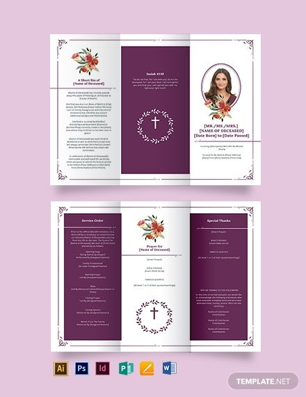 blank catholic funeral tri fold brochure