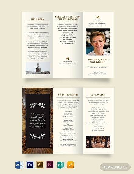 blank eulogy funeral tri fold brochure template