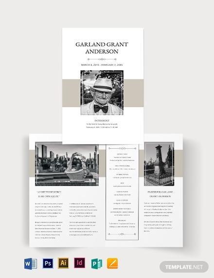 blank funeral mass bi fold brochure