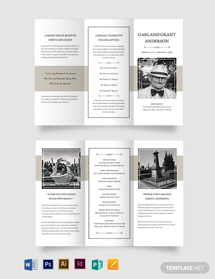 blank funeral mass tri fold brochure