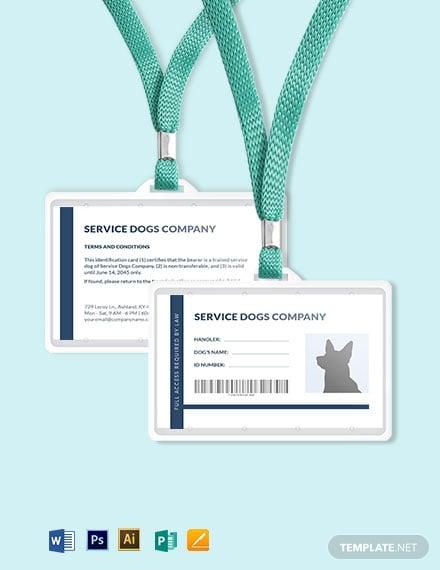blank service dog animal id card