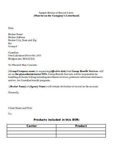 broker agency of record letter template