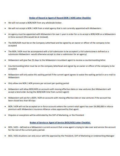 broker agent of record letter checklist