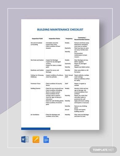 10 Building Maintenance Checklist Templates In Google Docs Ms Word Pages Pdf Free Premium Templates