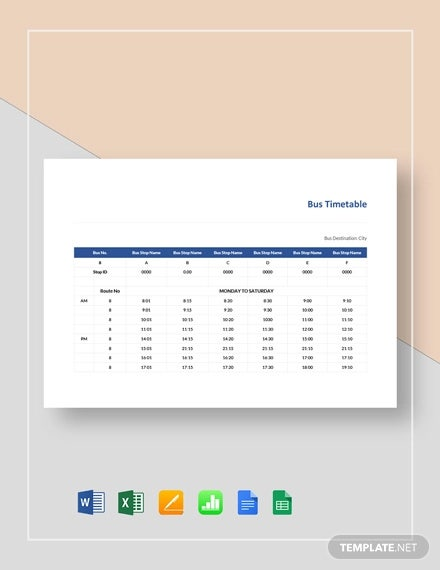 bus timetable template