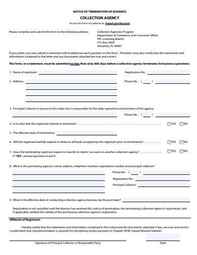 business agency termination letter form
