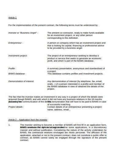 business angels investor contract template