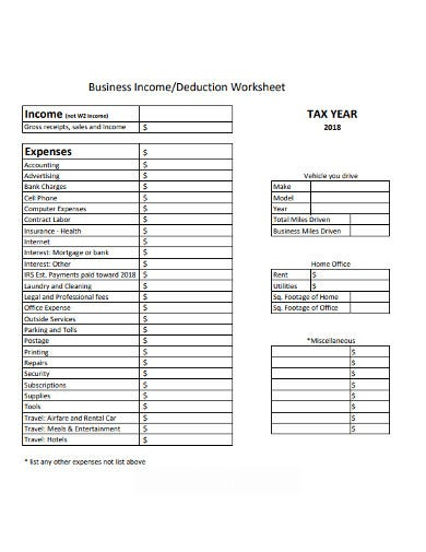 business deduction expenses worksheet