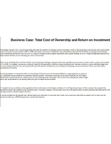 business ownership return on investment template