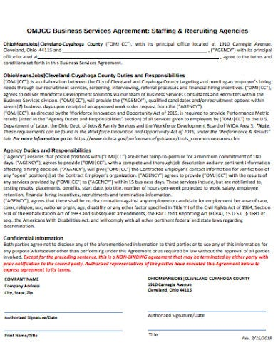 business services recruitment agency agreement