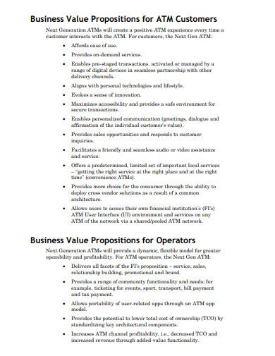 business value propositions for atm customers template