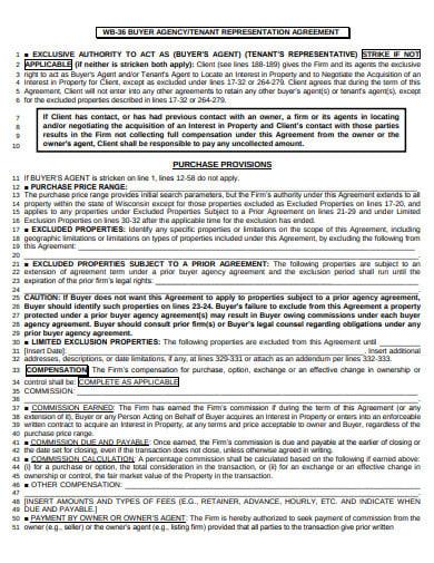 buyer agency representation agreement template