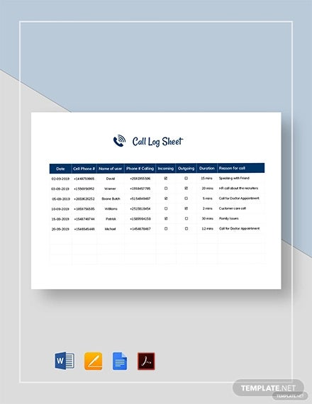 call log sheet template1