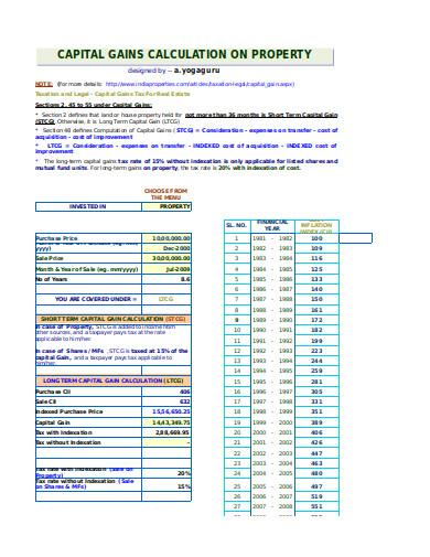 capital gain calculator template
