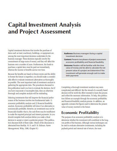 capital investment analysis project assessment