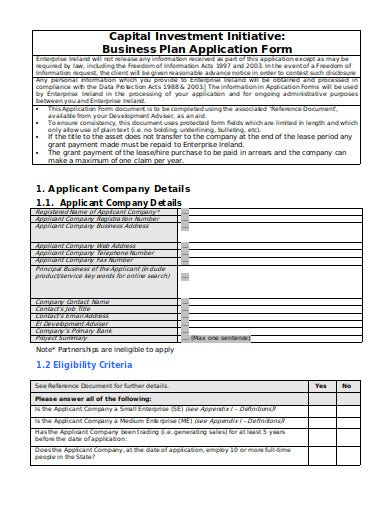 capital investment application form