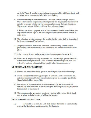 capital investment club agreement template
