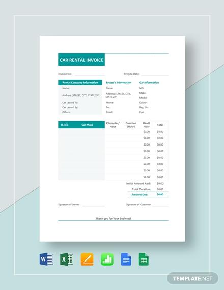 car rental invoice template1