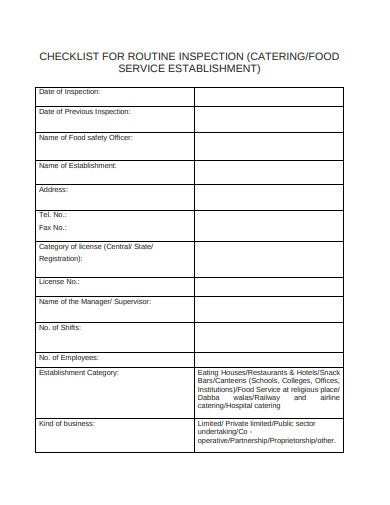 catering audit checklist